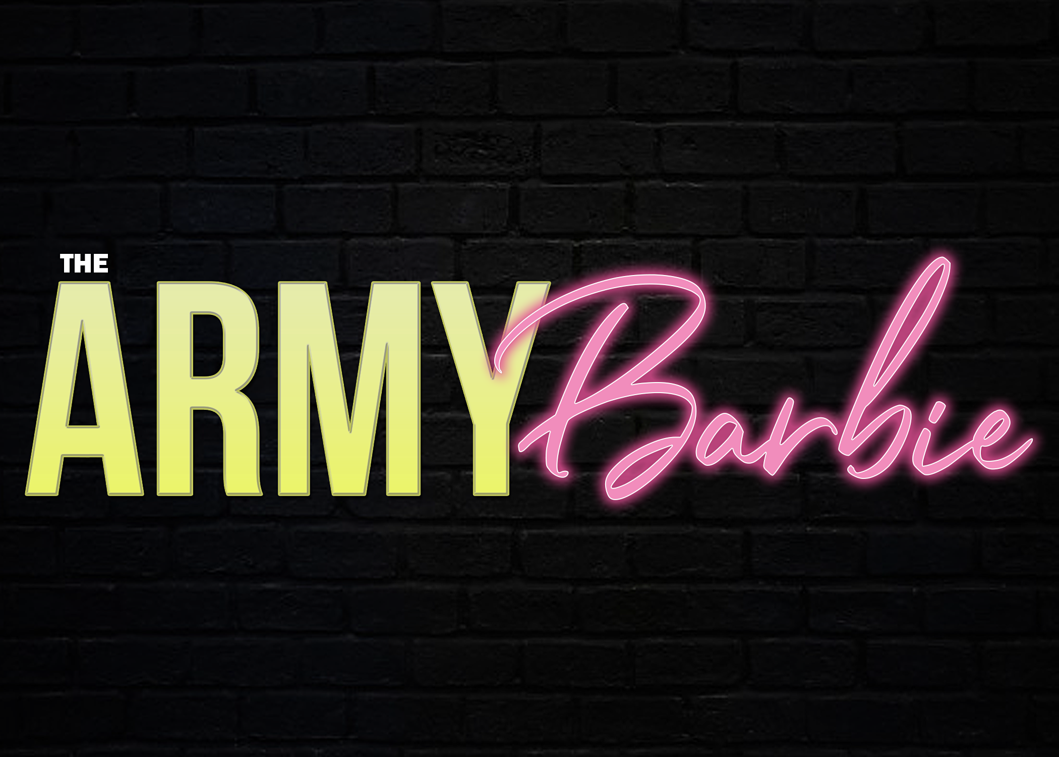 The Army Barbie Logo - Brick Background.