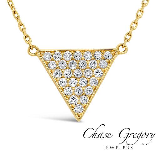 Yellow Gold Diamond Pave Triangle