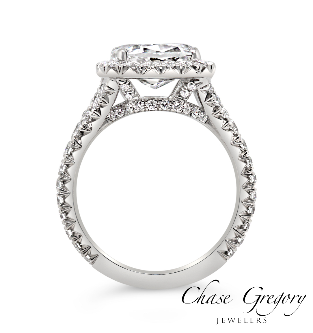 Full french pave engagement ring