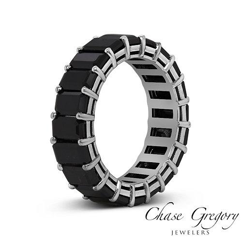 Black Diamond White Gold Eternity Ring