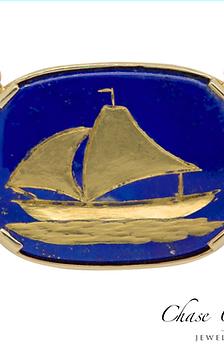Sail Boat Lapis Pendant