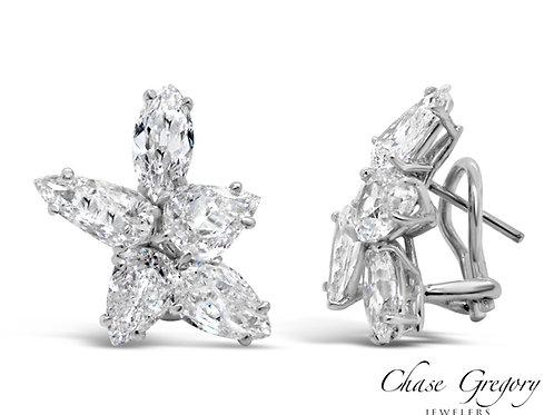 Platinum Mixed-Shap Diamond Earrings