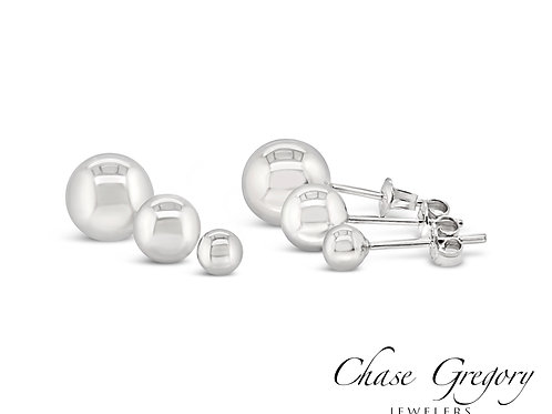 14kt White, Yellow, and Rose Gold Ball Studs