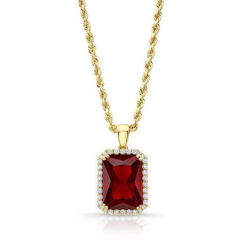 Red Lab Grown Ruby Pendant