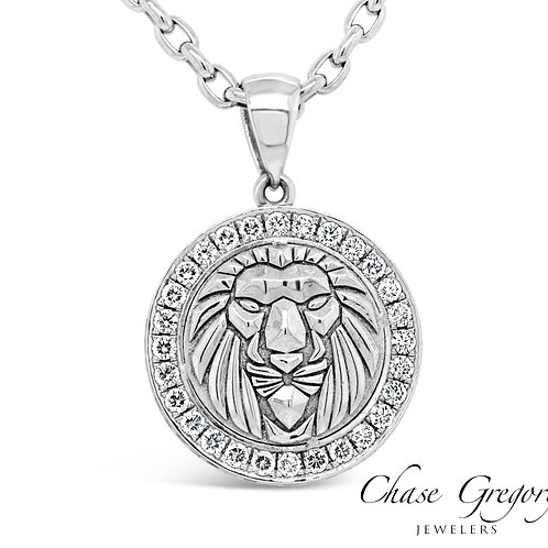 Diamond Bezel Lion Pendant