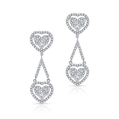 Ladies Heart Shape Drop Earrings