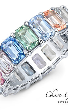 Pastel Rainbow Colored Sapphire Eternity Ring