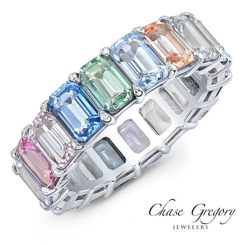 Pastel Rainbow Colored Sapphire Eternity Ring