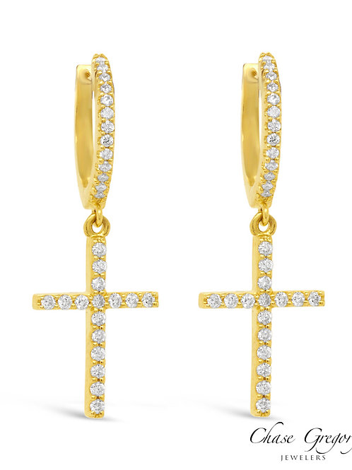 Diamond Cross and Hoop Earrings