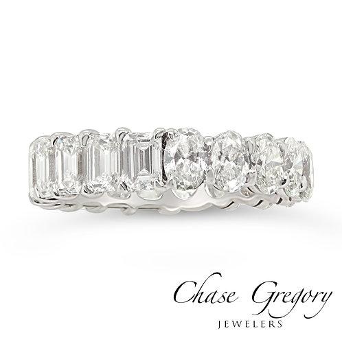 Diamond 1/2 Oval 1/2 Emerald Eternity Ring.