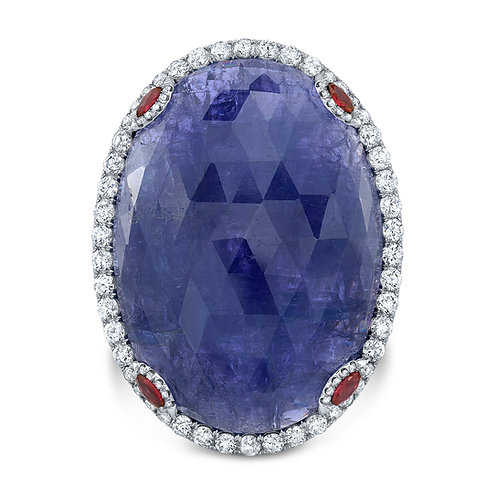 Large tanzanite ring with rubies and diamonds