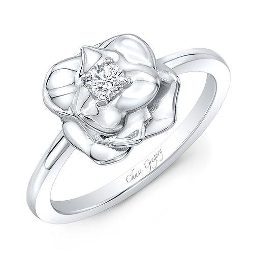 Rose Bud Ring with Diamond