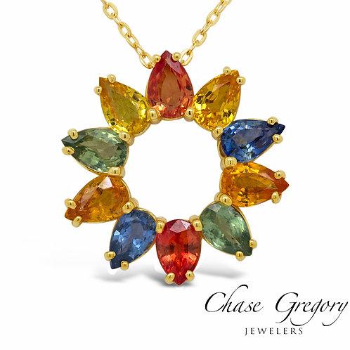 Pear Sapphire Rainbow Sunflower Pendant