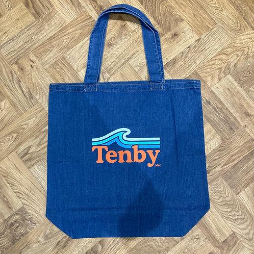 Big Denim Tote Bag - Tenby Wave