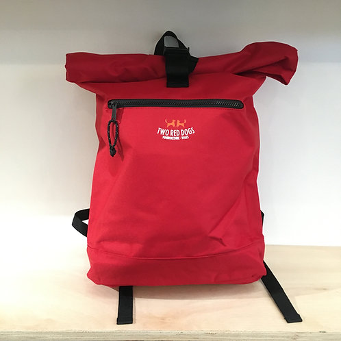 Recycled Roll Top Rucksack - Classic Red