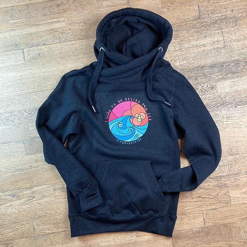 I like to be Beside the Sea Wrap Neck Hoodie