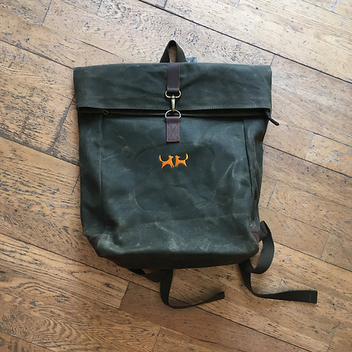 Two Red Dogs Waxed Canvas Rucksack