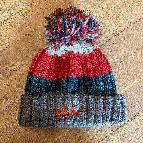 Wool Bobble Hat - Red, Blue & Grey Stripe