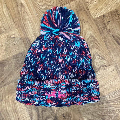 Colour Mix Bobble Hat - Navy, Pink and Turquoise