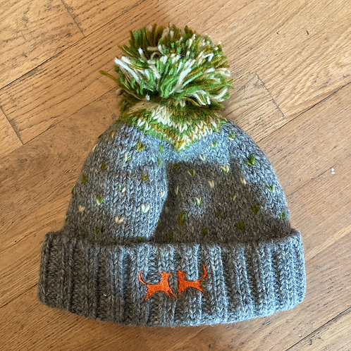 Wool Bobble Hat - Green Firework