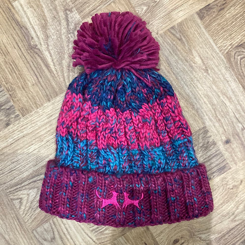 Chunky Stripe Bobble Hat - Pink & Turquoise