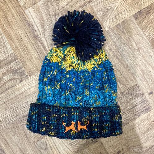 Chunky Stripe Bobble Hat - Navy, Blue & Yellow