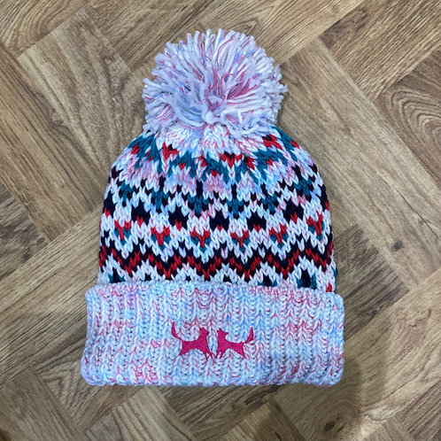 Shearling Lined Bobble Hat - Pink Knit