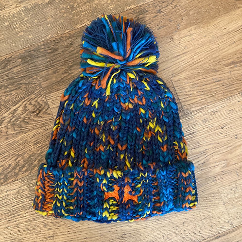 Colour Mix Bobble Hat - Teal & Orange & Yellow