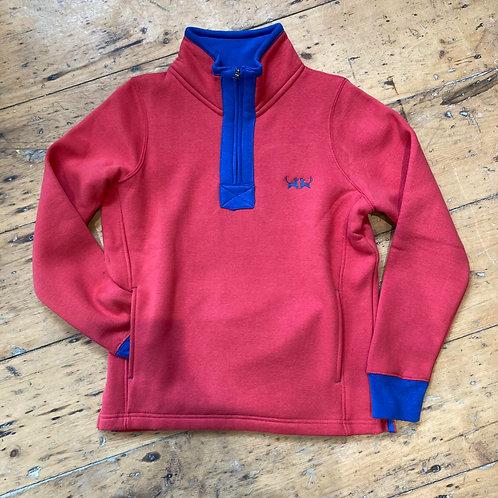 Two Red Dogs Quarter Zip Sweatshirt - Red