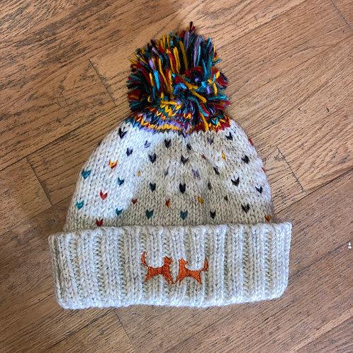Wool Bobble Hat - Natural Firework