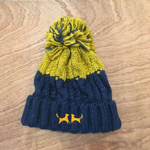 Colour Block Bobble Hat - Navy & Mustard