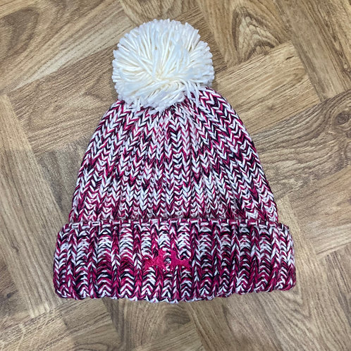 Twist Knit Bobble Hat - Hot Pink