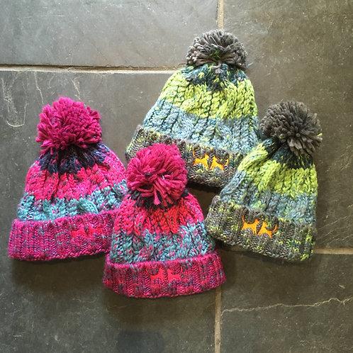 Kids Chunky Stripe Bobble Hat