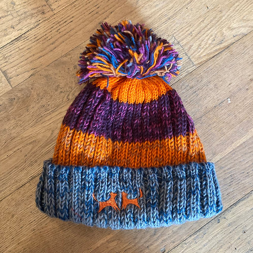 Wool Bobble Hat - Orange, Berry & Grey Stripe