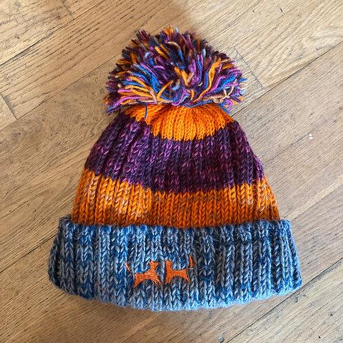 Wool Bobble Hat - Orange, Berry & Grey Stripe
