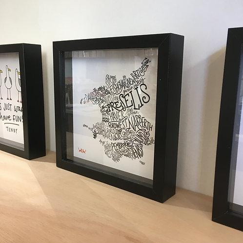 Pembrokeshire Wordmap Framed Print