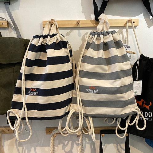 Two Red Dogs Nautical Stripe Drawstring Bag
