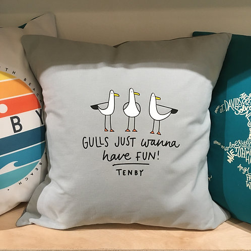 Gulls Just Wanna Have Fun Cushion