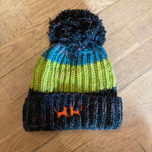 Wool Bobble Hat - Lime, Teal & Charcoal Stripe
