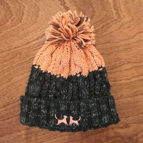 Colour Block Bobble Hat - Grey & Blush Pink
