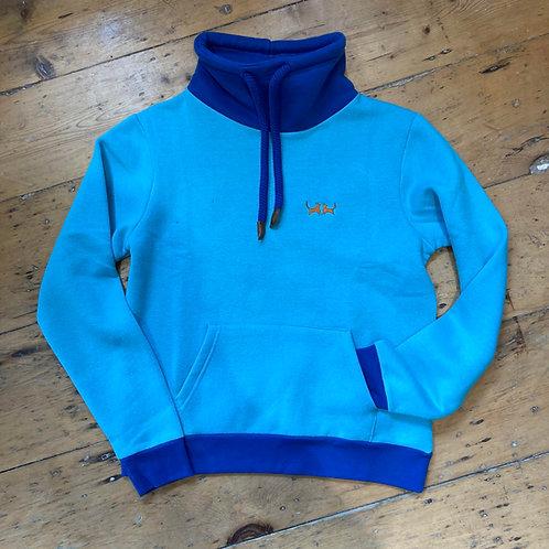 Roll Neck Sweatshirt - Lagoon Blue