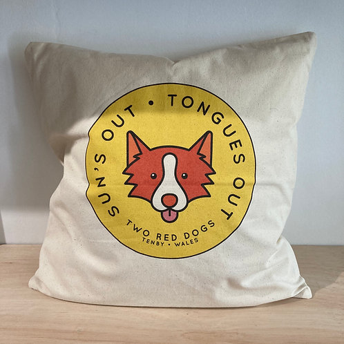Sun's Out Tongues Out Fairtrade Cushion