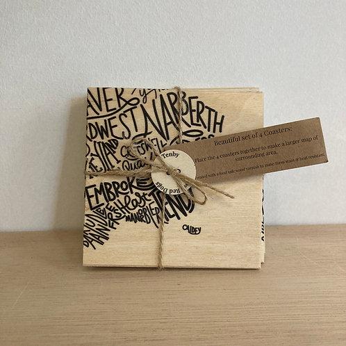 Pembrokeshire Wordmap Wooden Coasters