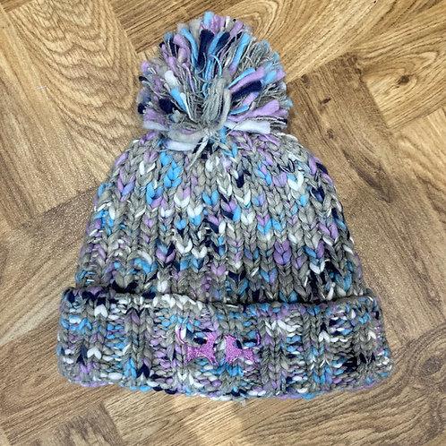 Colour Mix Bobble Hat - Grey & Lilac