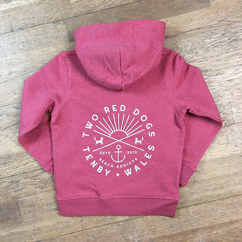 Kids Organic Two Red Dogs Beach Addicts Hoodie