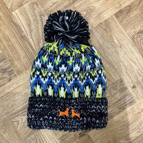 Shearling Lined Bobble Hat - Black Knit