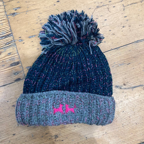 Wool Bobble Hat - Petrol and Grey