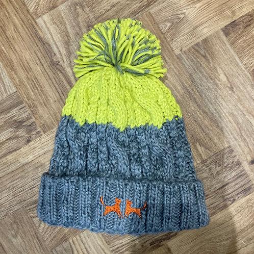 Colour Block Bobble Hat - Grey & Citrus