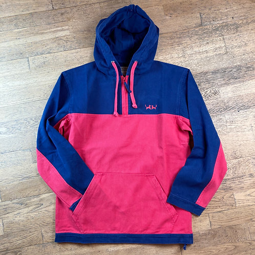 Two Red Dogs Sailcloth Hoodie - Navy & Berry