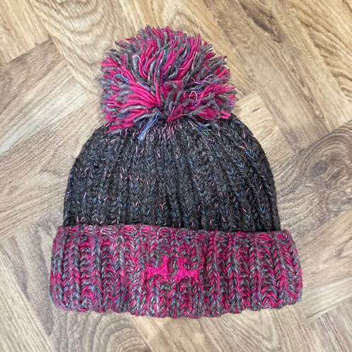 Wool Bobble Hat - Pink and Grey